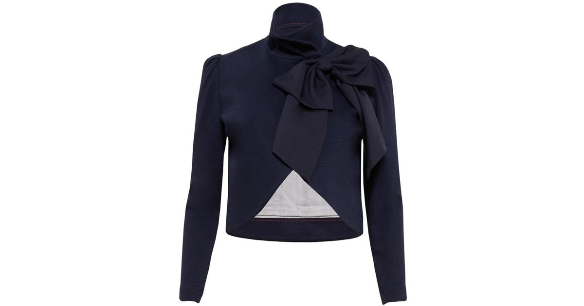 Lyst Alice Olivia Addison Bow Collar Crop Jacket In Blue