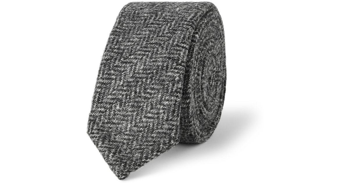 84a359e355a7 Lyst - Thom Browne Slim Herringbone Wool-tweed Tie in Gray for Men