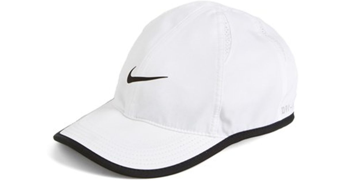 nike 39 feather light 39 dri fit cap in white lyst. Black Bedroom Furniture Sets. Home Design Ideas