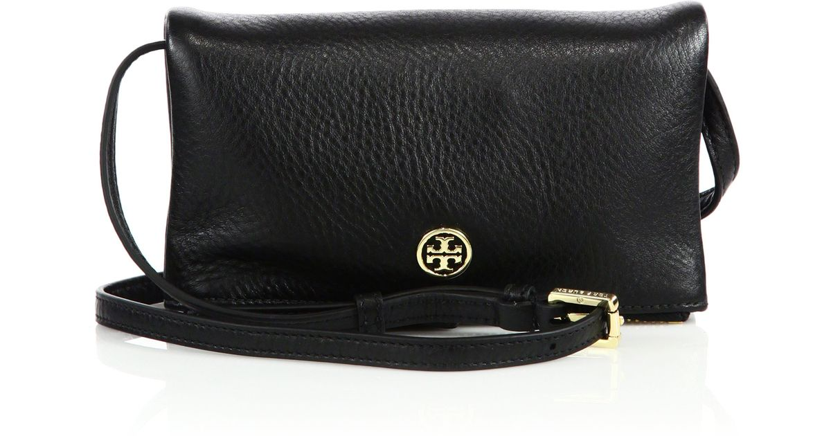 bad64b3a3bd Lyst - Tory Burch Robinson Leather Fold-over Crossbody Bag in Black
