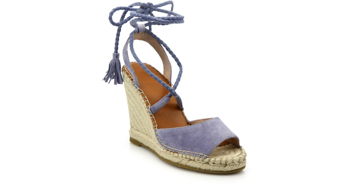 add5ee65035a Lyst - Joie Phyllis Suede Lace-up Espadrille Wedge Sandals in Blue