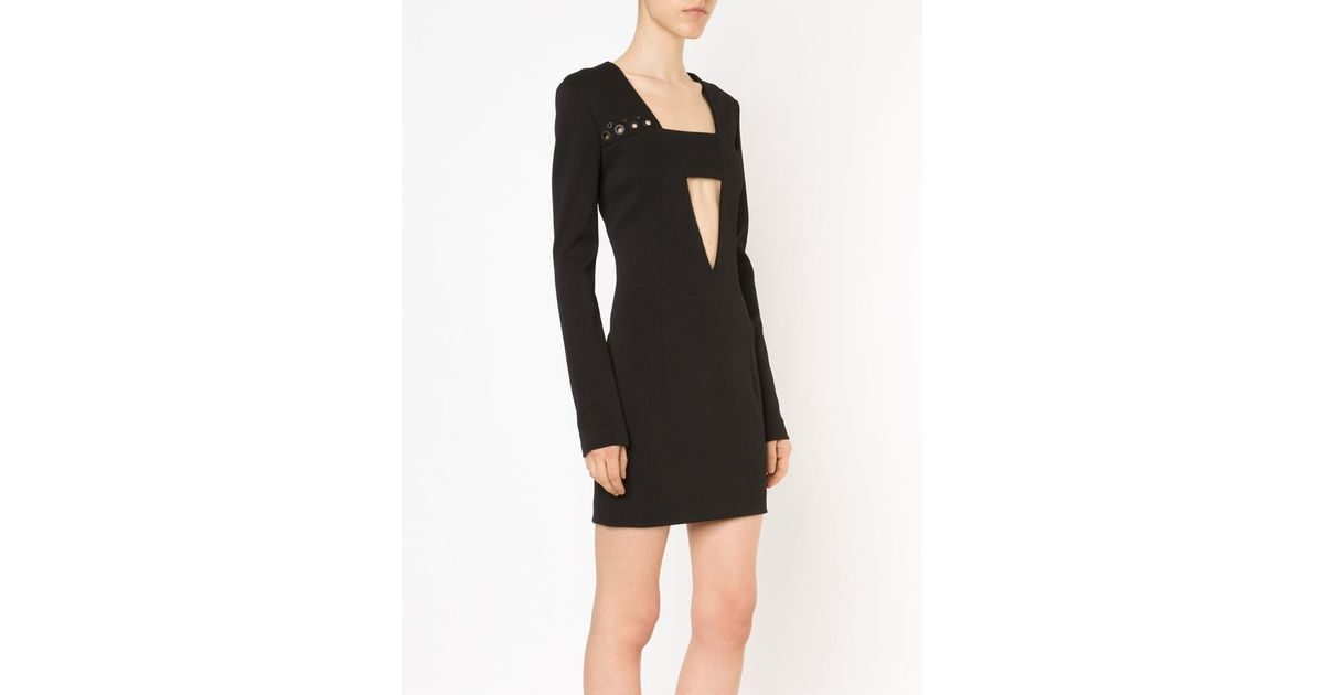 a2d261fd4924 Lyst - Anthony Vaccarello Deep Cut-out Mini Dress in Black