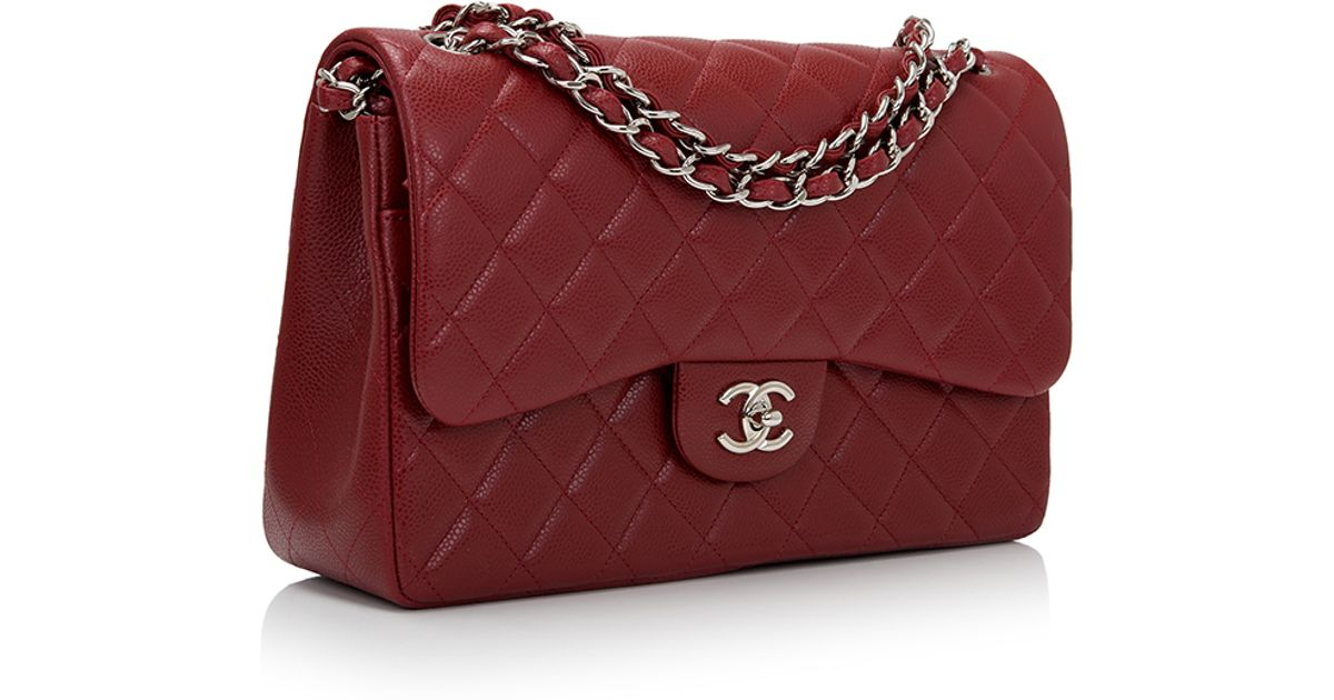 047b1ab87fd5 ... Classic Double Flap Bag In Lyst Madison Avenue Couture Chanel Dark Red  Quilted Caviar Jumbo