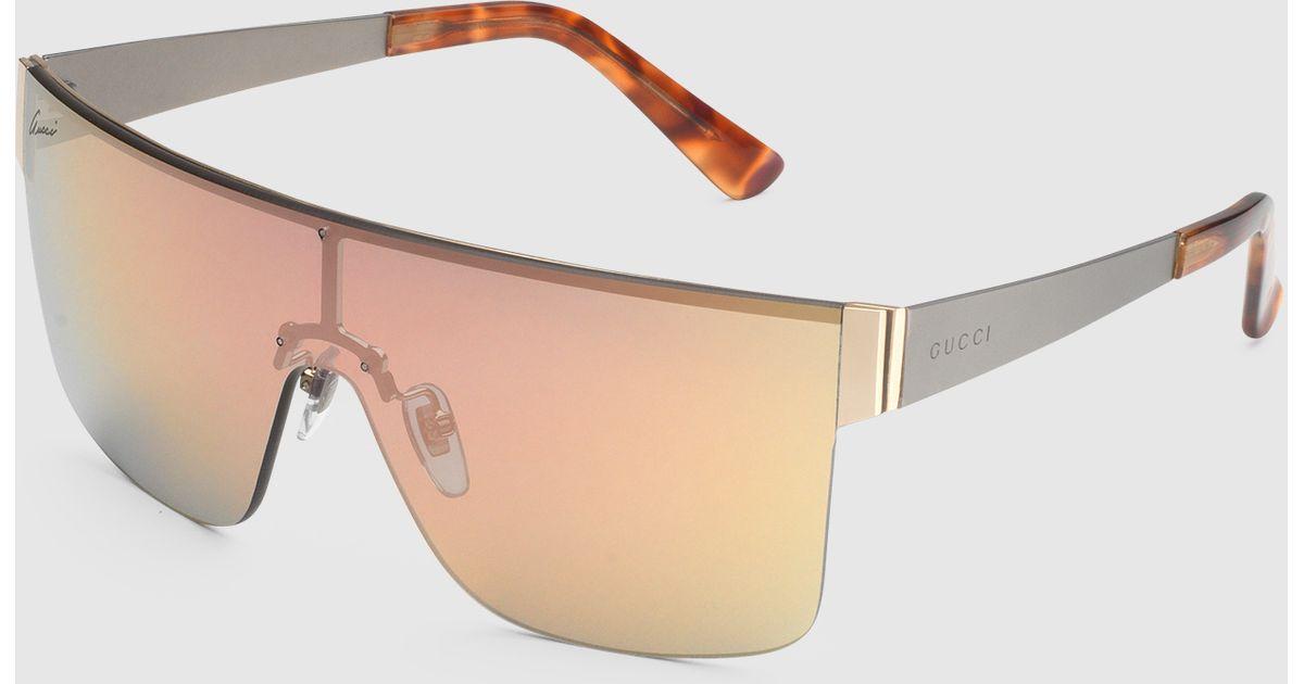 4c587951576 Lyst - Gucci Mask-frame Metal Sunglasses