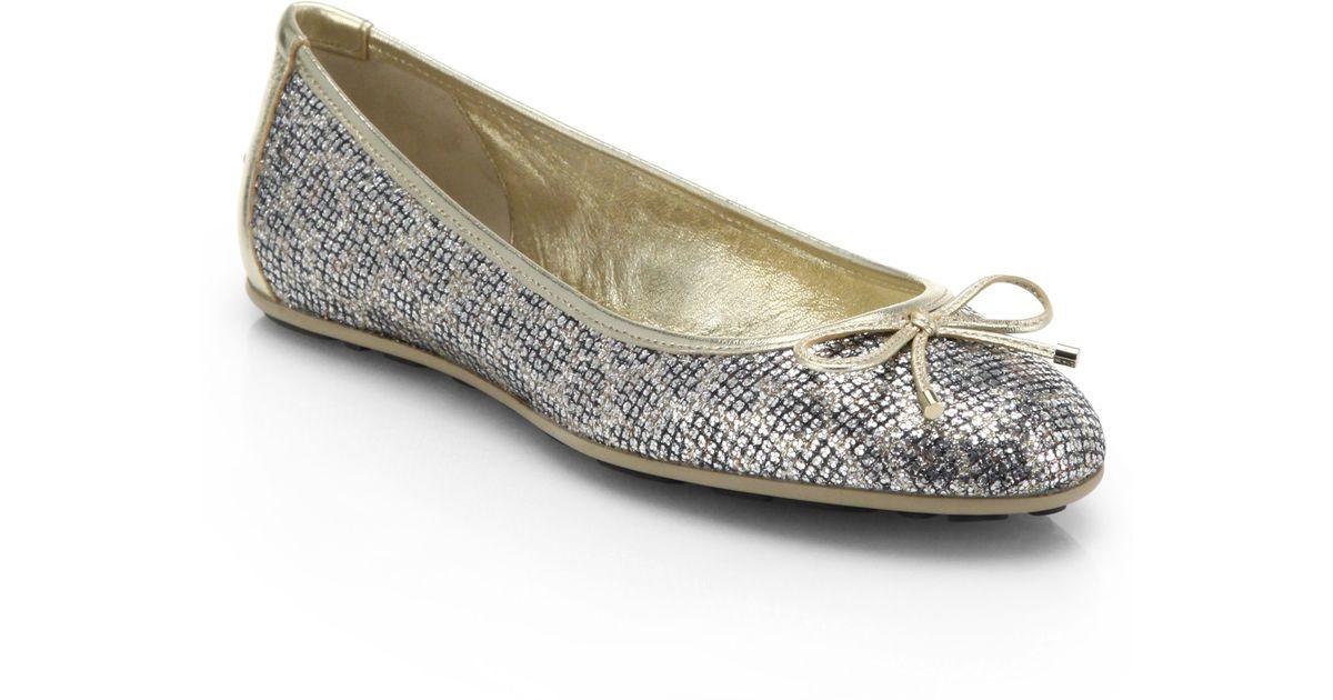 jimmy choo walsh glitter leopard print ballet flats in metallic lyst. Black Bedroom Furniture Sets. Home Design Ideas