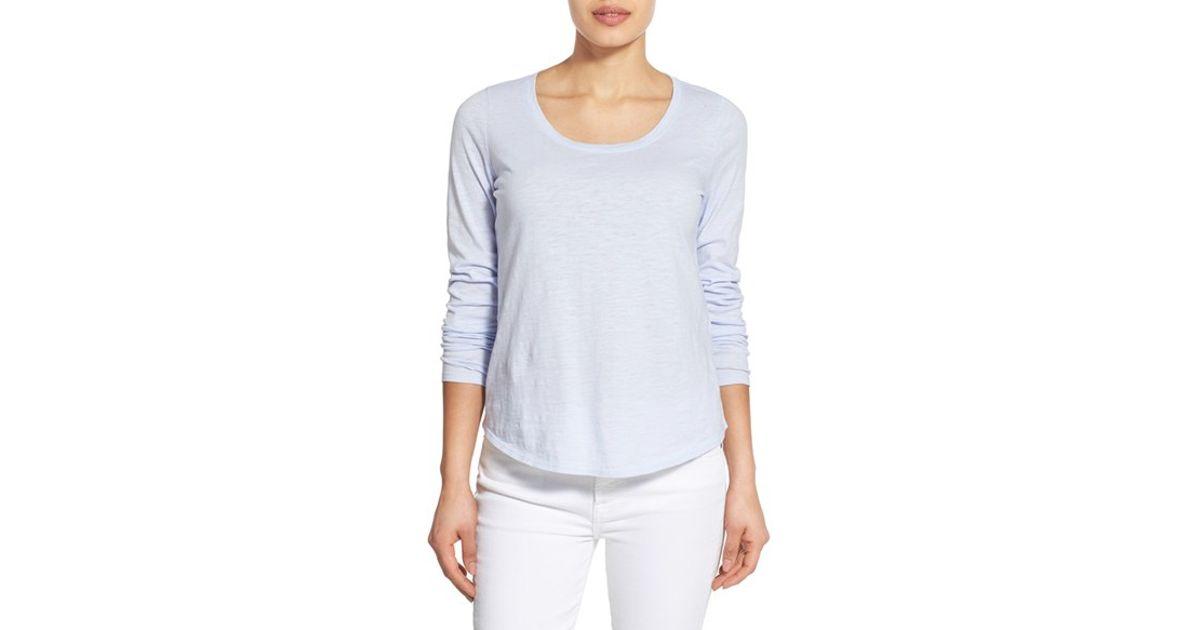 Eileen fisher slub organic cotton u neck tee in blue lyst for Eileen fisher organic cotton t shirt