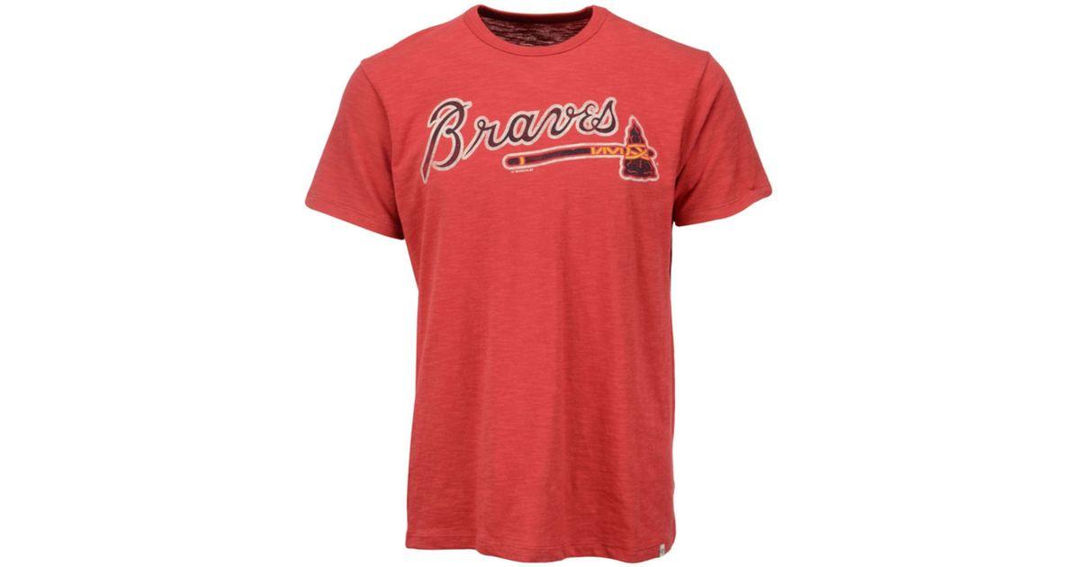 47 brand men 39 s atlanta braves scrum t shirt in red for men. Black Bedroom Furniture Sets. Home Design Ideas
