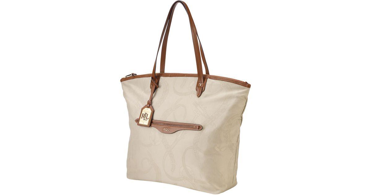 12375d43e Lauren by Ralph Lauren Cavalry Nylon Tote Bag in Natural - Lyst