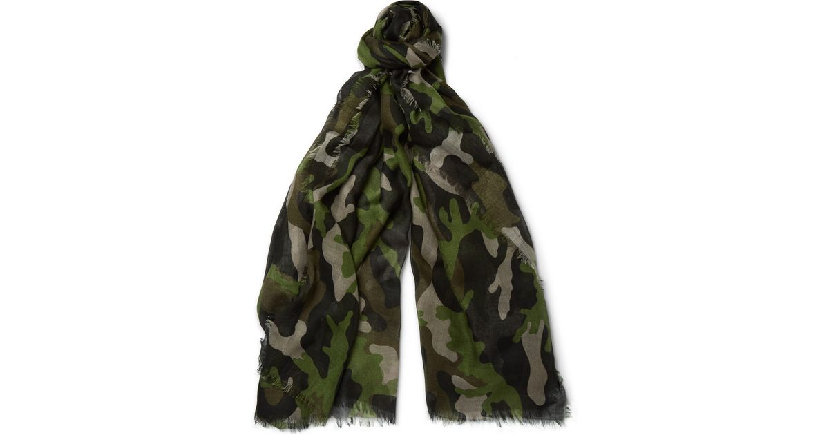 e3b270a7c83d Lyst - Valentino Camouflage-Print Cashmere And Silk-Blend Scarf in Green  for Men