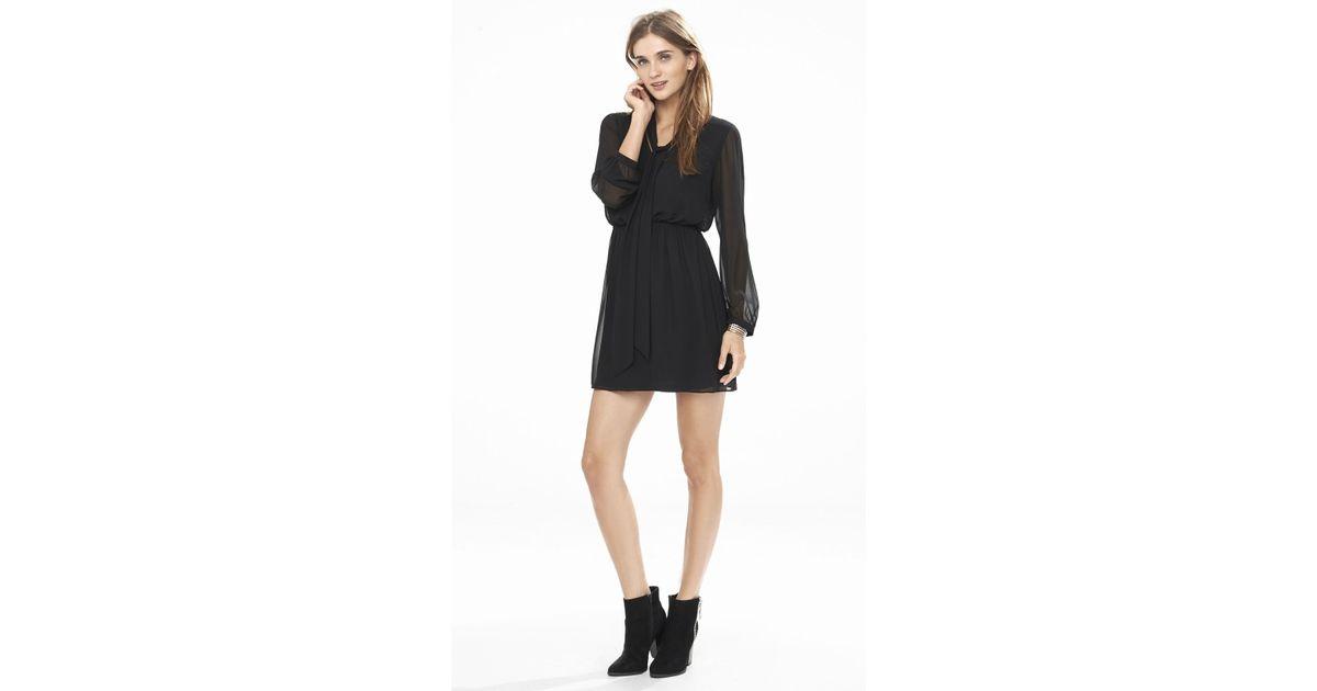 0b6a91cd489 Express Black Long Sleeve Tie Neck Dress in Black - Lyst