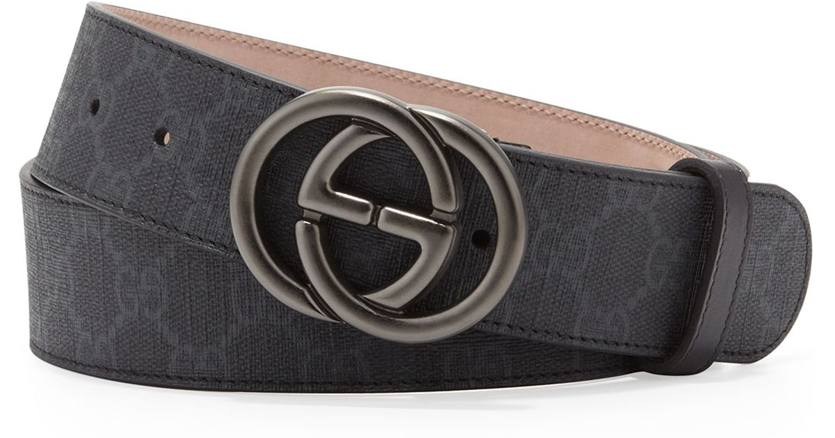 87e58efe1eb Gucci Gg Supreme Canvas Belt With Interlocking G Buckle in Black for Men -  Lyst