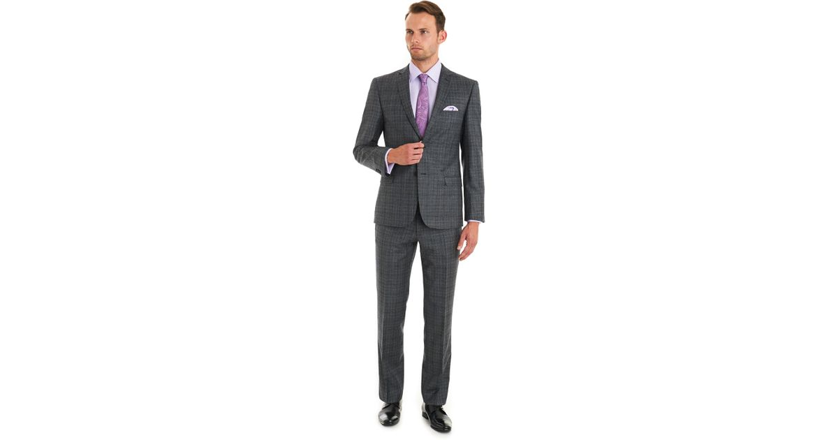 a5e5b839d83827 Ted Baker Tailored Fit Grey Check Suit in Gray for Men - Lyst