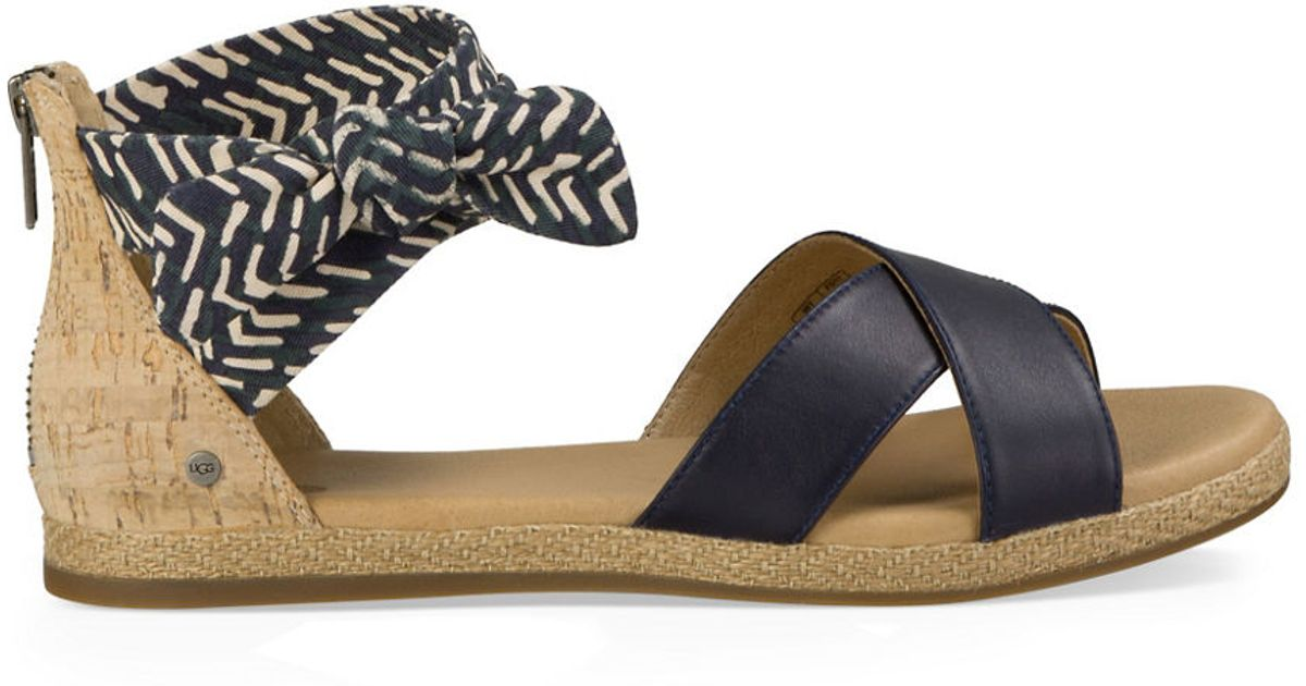 Ugg Idina Flat Leather Sandals In Natural Lyst