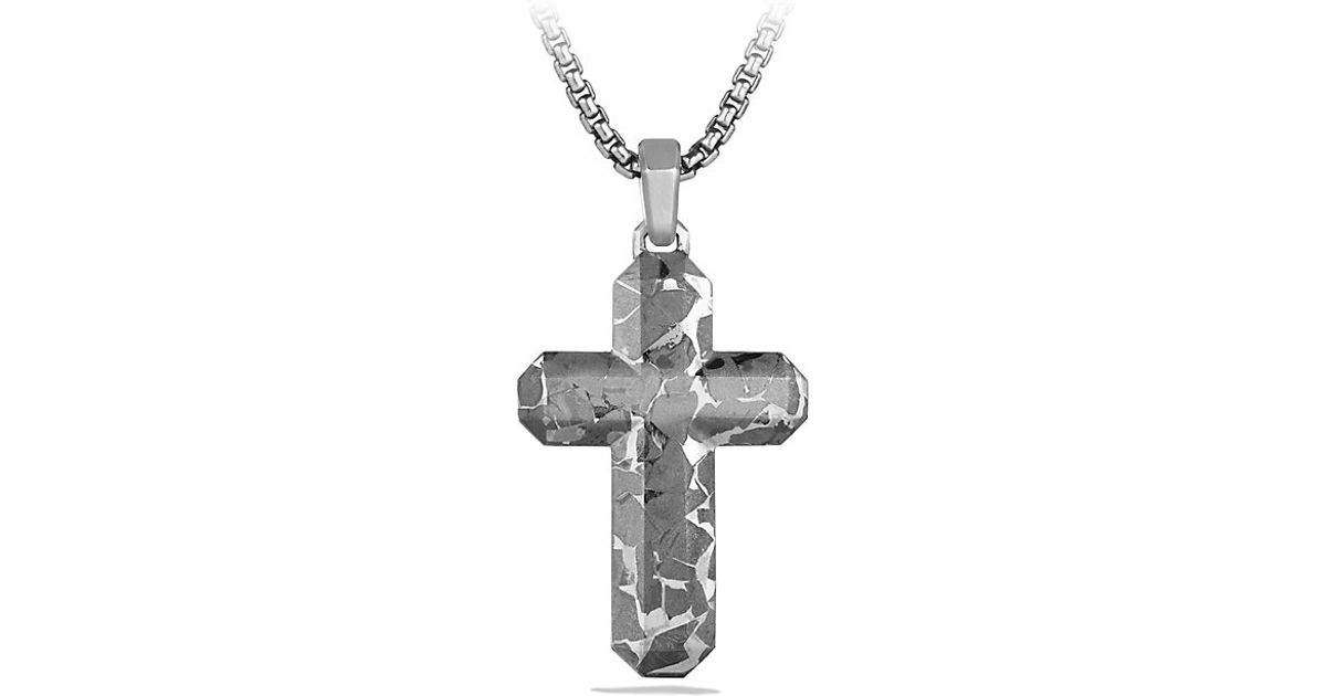 Lyst david yurman fused meteorite cross tag in metallic for men mozeypictures Images