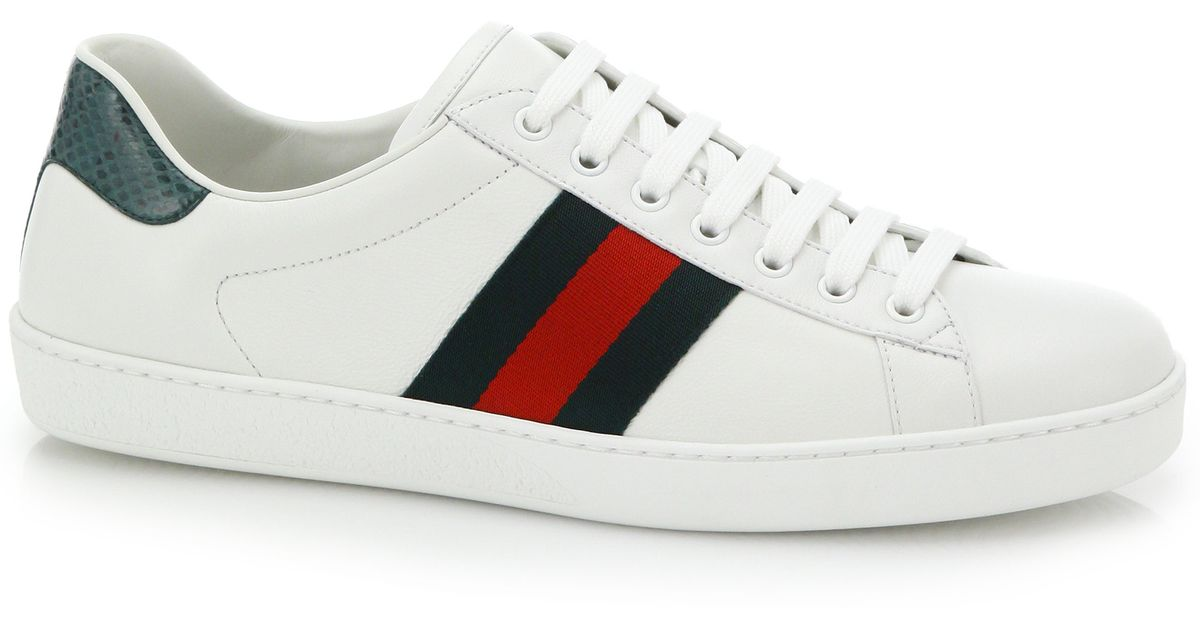 gucci crocdetail leather sneakers in white for men white