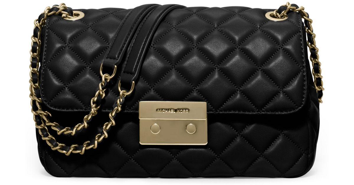 ef4498f7280e5 Lyst - Michael Kors Sloan Large Quilted-leather Shoulder Bag in Black