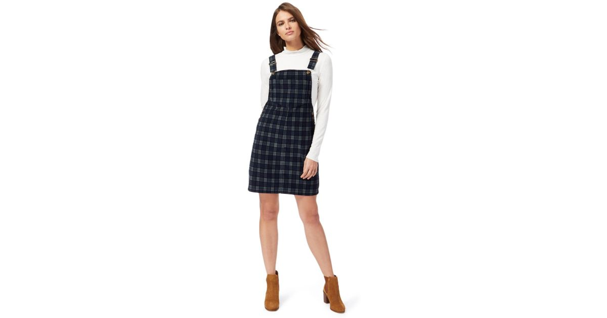 fed906d45d2 Red Herring Dark Green Checked Mini Pinafore Dress in Blue - Lyst