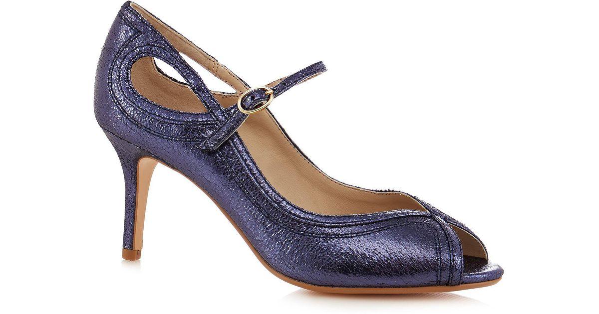 02b0918142e9 Lyst - Début Blue Glitter High Stiletto Heel Peep Toe Shoes in Blue