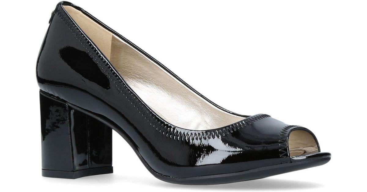Heel Court Lyst Meredith Shoes Peep Anne Black Klein High Toe 2EH9ID