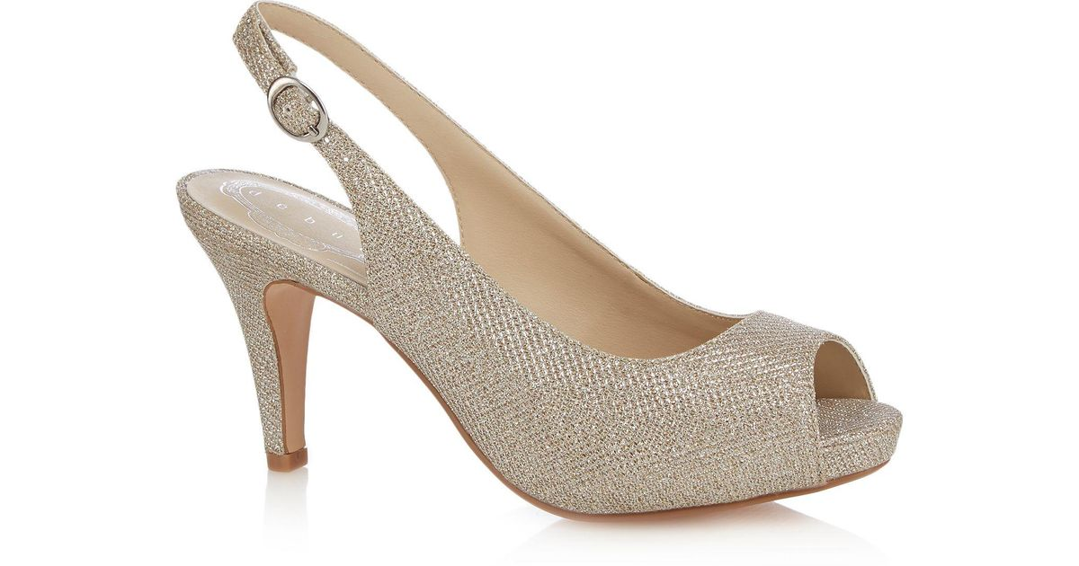 f5395dfb6cc Début Silver  dashing  High Heel Wide Fit Peep Toe Shoes in Metallic - Lyst