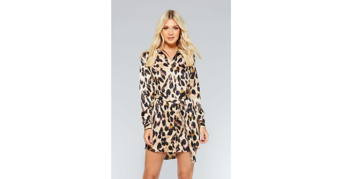 c1fc166351 Quiz Stone And Black Leopard Print Shirt Dress in Natural - Lyst