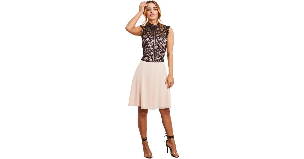 e13c2a0f Lipstick Boutique Blush 'taniara' Lace Sleeveless Body Skater Chiffon Dress  in Pink - Lyst