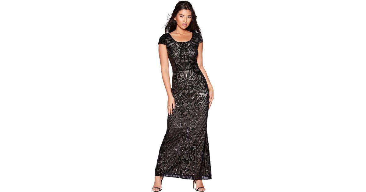 68b34d43f1 Quiz Black And Nude Sequin Mesh Maxi Dress in Black - Lyst