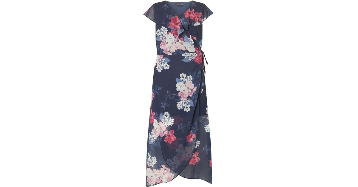 a709703f115 Dorothy Perkins Curve Navy Floral Print Chiffon Maxi Dress in Blue - Lyst