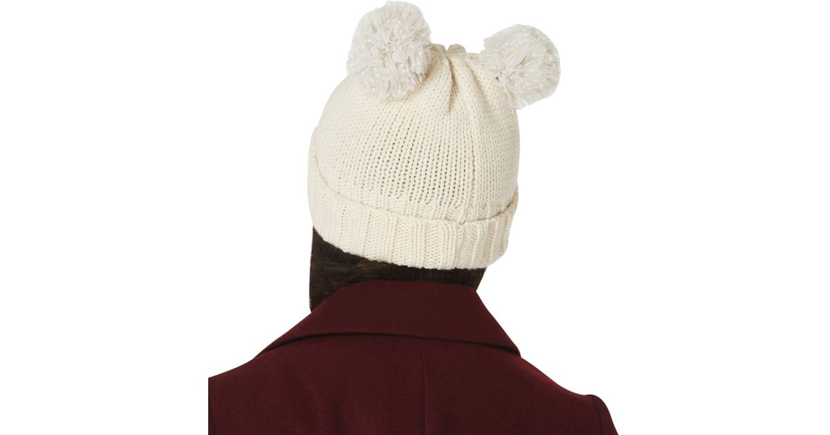 Dorothy Perkins Cream Two Pom Novelty Beanie Hat in Natural - Lyst 3c949b41639