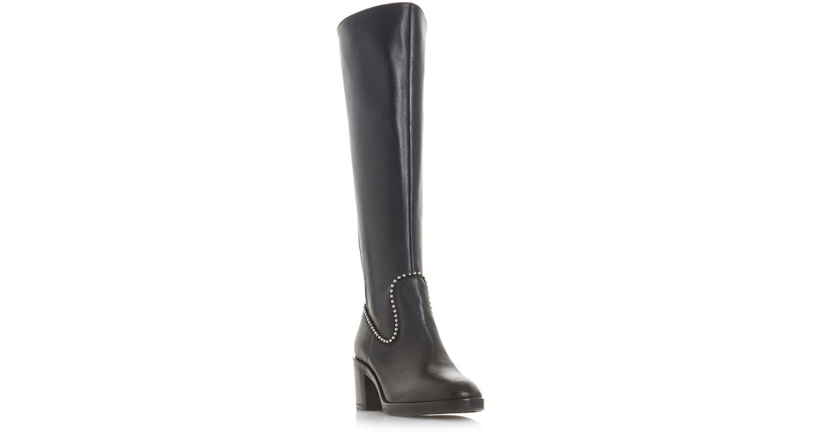 346985b2a6c Dune Black Black Leather  teddie  Mid Block Heel Knee High Boots in Black -  Save 10% - Lyst