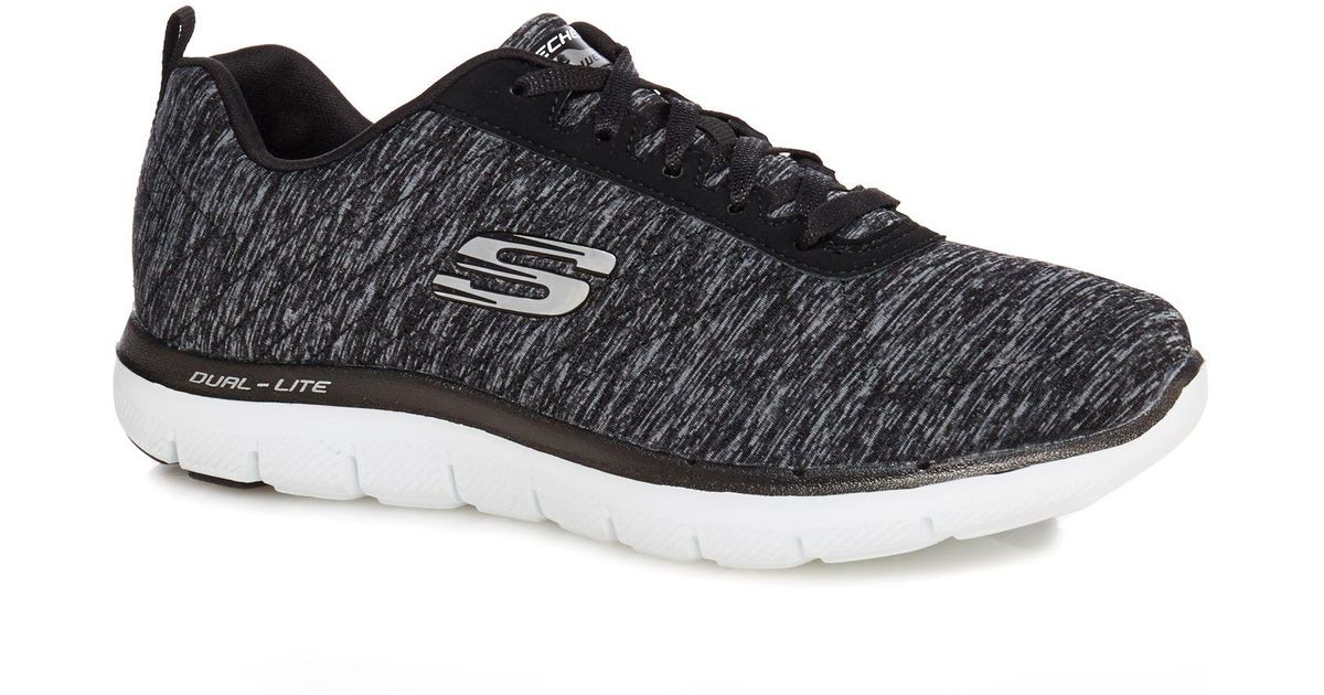 a022a9683463 Skechers Black  flex Appeal 20  Wide Fit Trainers in Black - Lyst