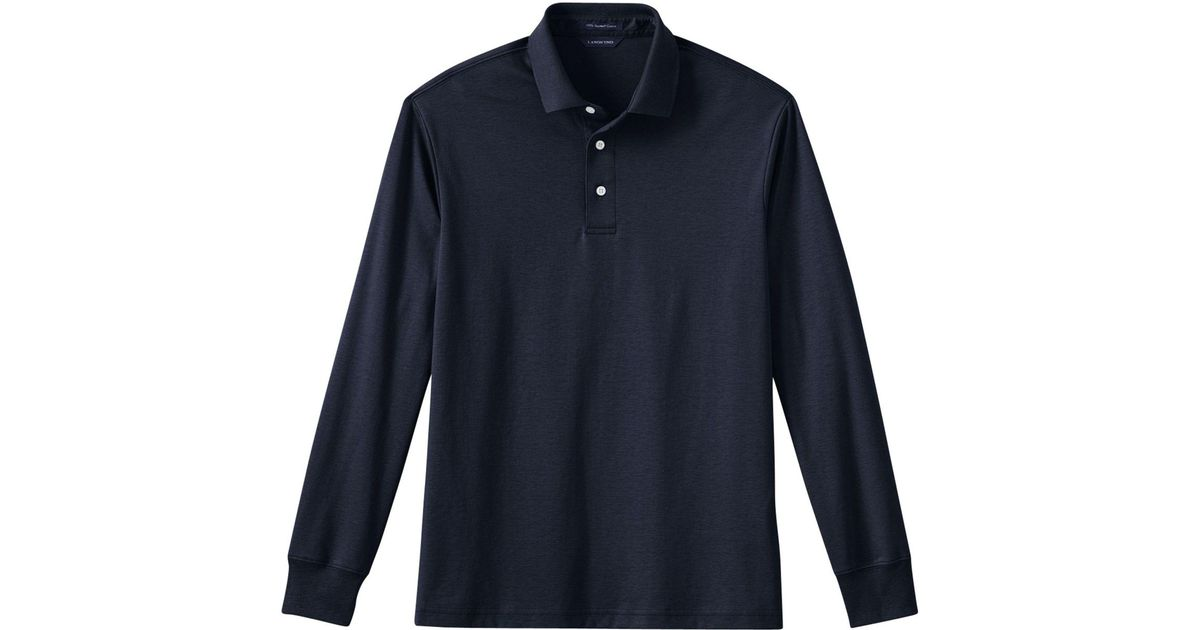 1c19009c625 Lands' End Blue Men's Long Sleeve Tailored Fit Supima Polo in Blue for Men  - Lyst