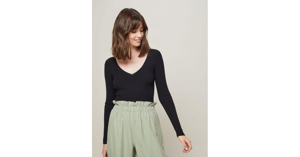 44e91170a0e8f1 Miss Selfridge Black Lattice Back Rib Knitted Top in Black - Lyst