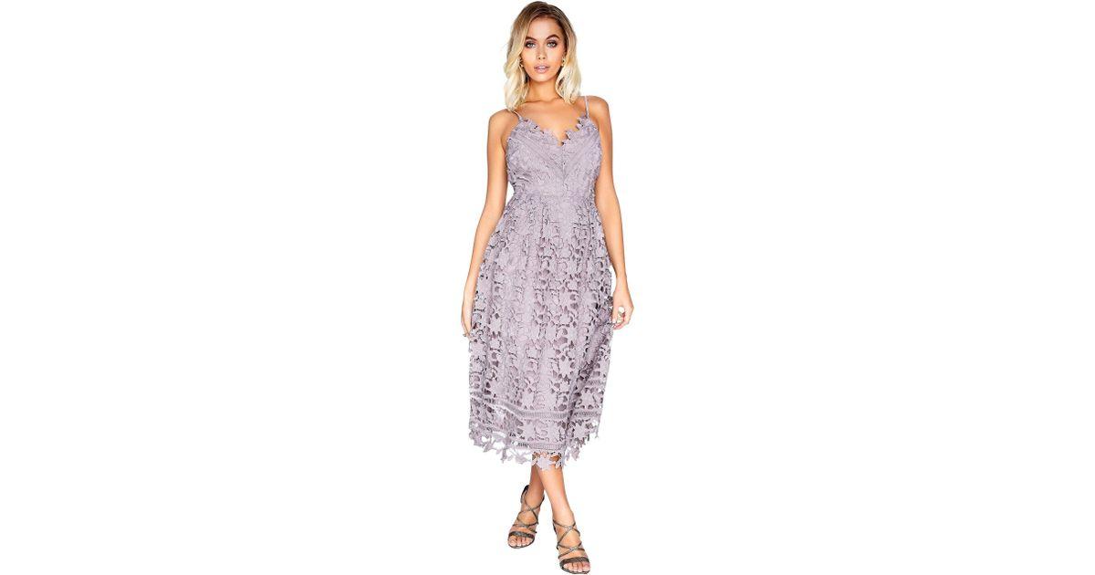 d7c092a573d Little Mistress Oyster Midi Dress in Purple - Lyst