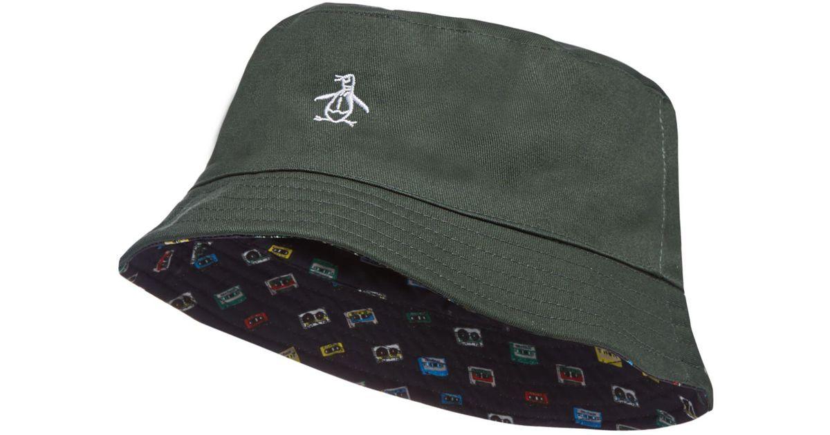 Original Penguin Green Reversible Bucket Hat in Green for Men - Lyst d0c4aa72e64d