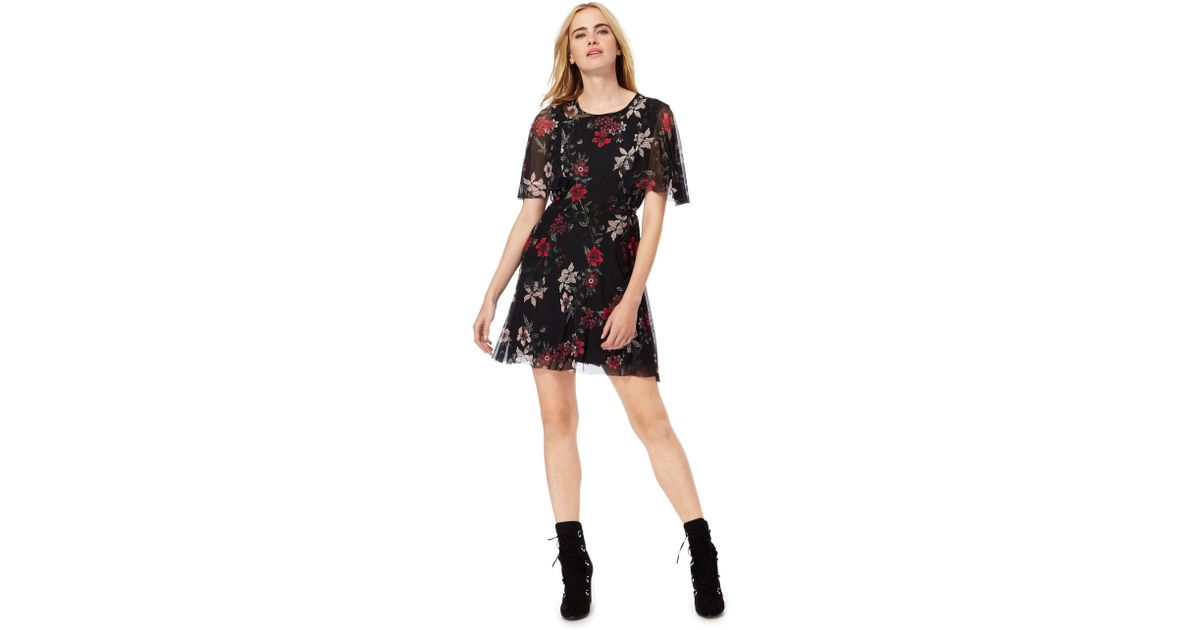 877669e9c8 Red Herring Black Floral Print Mini Skater Dress in Black - Lyst