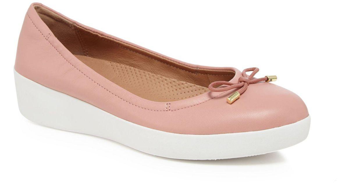 93835cc77bf2 Fitflop Pink  superbendy Ballerina  Mid Flatform Heel Ballet Pumps in Pink  - Lyst