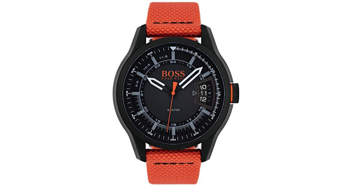25b90415a83 Boss Orange Men s Hong Kong Orange Strap Watch in Orange for Men - Lyst