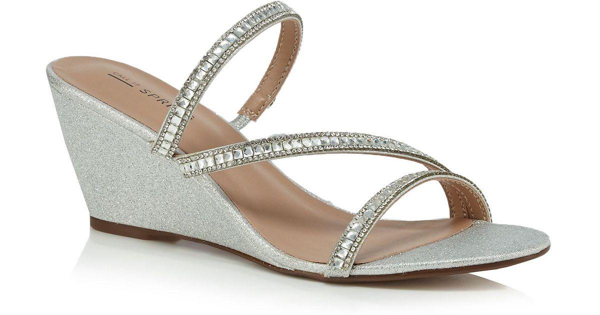 575ec150b1f Call It Spring Silver Glittery  froetha  Mid Wedge Heel Mules in Metallic -  Lyst