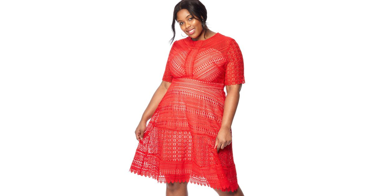 Début Red Lace \'lara\' Knee Length Plus Size Prom Dress in Red - Lyst