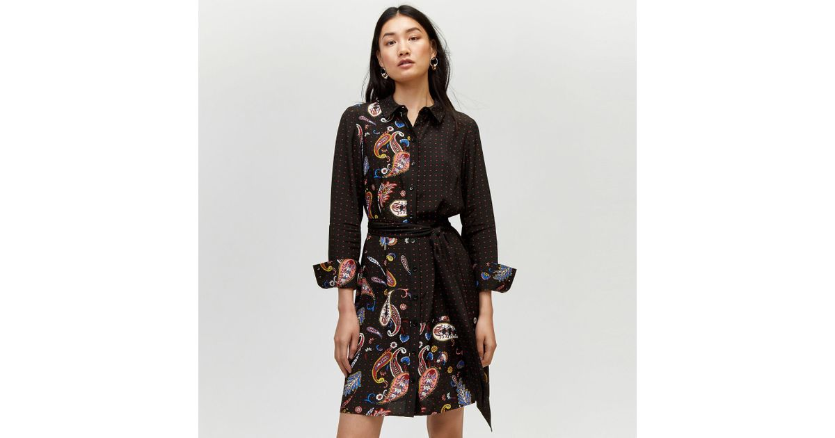863351235f1 Warehouse Cutabout Paisley Shirt Dress in Black - Lyst