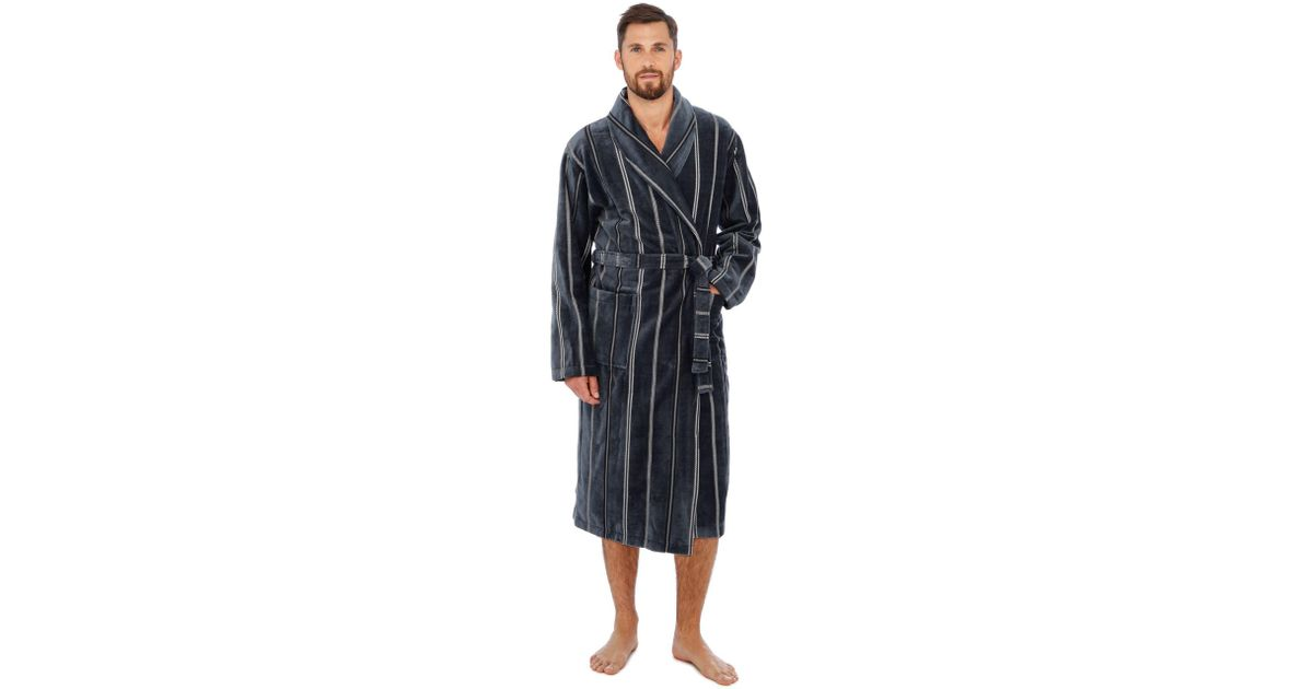 J By Jasper Conran Grey Velour Stripe Print Dressing Gown in Gray for Men -  Lyst 4d7e600e8