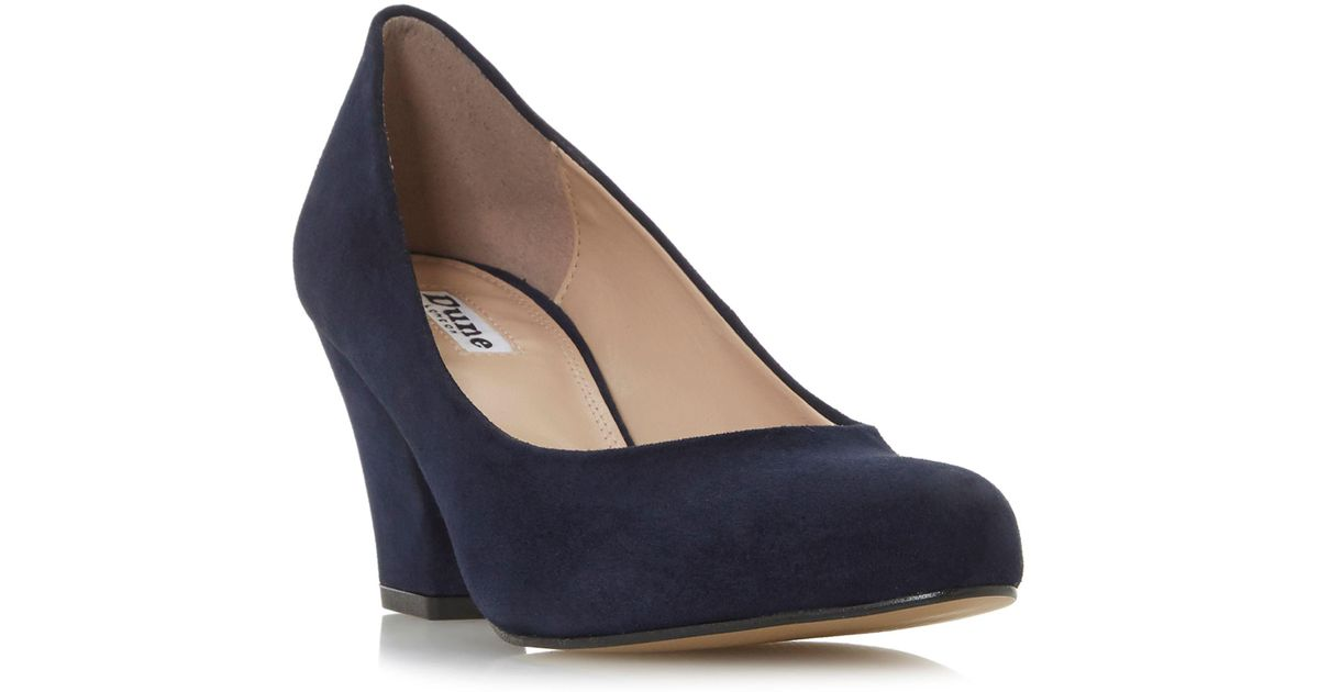 709800b1fcf Dune Navy Suede  anthea  Mid Block Heel Court Shoes in Blue - Lyst