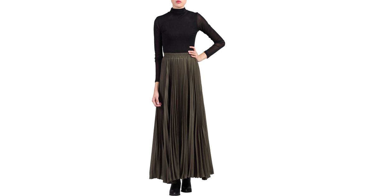 4515629819 Jolie Moi Green Pleated Crepe Maxi Skirt in Green - Lyst