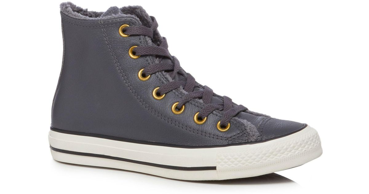 e8c5414e6361 Converse Grey Leather  all Star  High Tops in Gray - Lyst