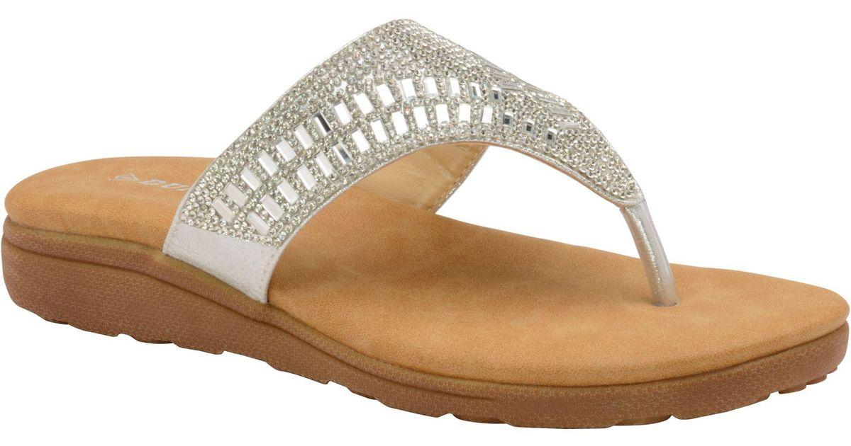 5a4d7cc4cfed Dunlop Silver  aura  Ladies Toe-post Sandals in Metallic - Lyst