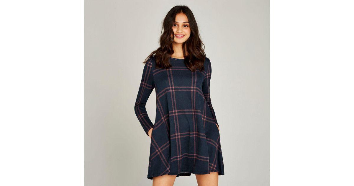 9e5f3306b8946 Apricot Navy Blanket Check Swing Dress in Blue - Lyst