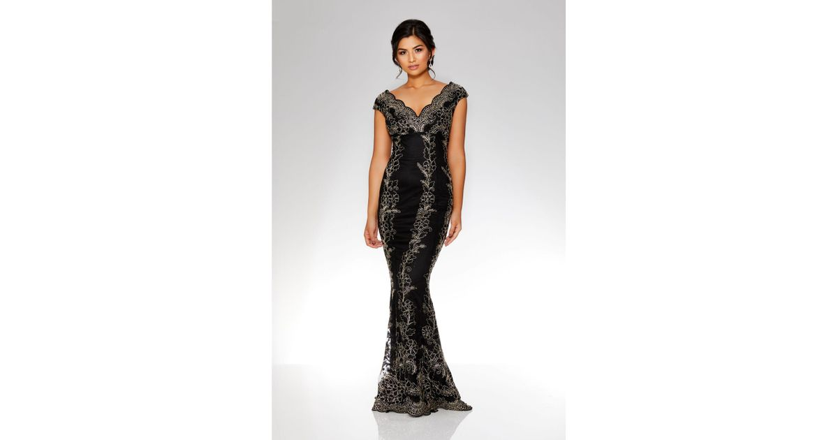 34bbb4b5765 Quiz Black And Gold Embroidered Scallop Fishtail Maxi Dress in Black - Lyst