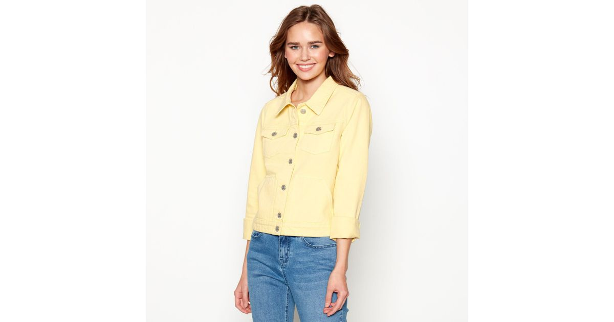 f9e6d7229adc Red Herring Pale Yellow Denim Trucker Jacket in Yellow - Lyst