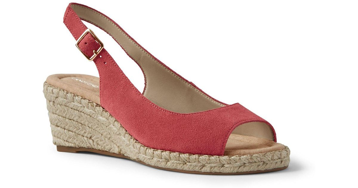 0d29f4f64f3 Lands' End Red Suede Espadrille Wedge Sandals